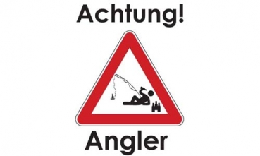 Flagge- Fahne- Achtung Angler Flagge 90x150 cm