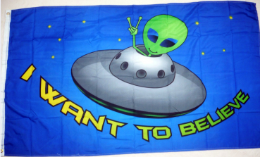 Flagge Fahne ALIEN I Want to believe UFO