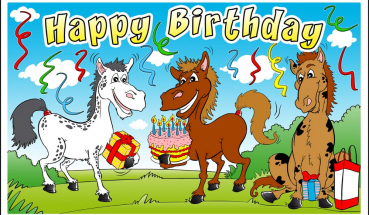 Flagge Fahne Happy Birthday Pferde Pony