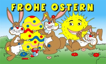 Flagge Fahne Frohe Ostern mit Sonne 90x150 cm