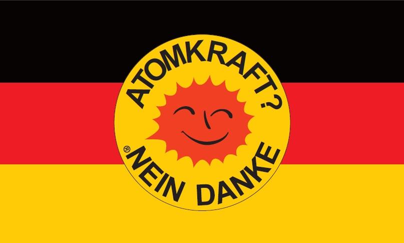 Flagge Fahne Atomkraft Nein Danke grün Hissflagge 90 x 150 cm